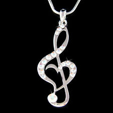 w Swarovski Crystal ~Aurora Borealis TREBLE G CLEF MUSIC NOTE Heart Necklace New