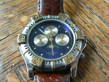 Peugeot Watch w/ Brown Leather Strap, Chronograph, Moon Phase and fresh battery