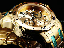 Invicta Men Scuba Pro Diver ISA Chronograph 18K Gold IP SS Gold Dial SS Watch