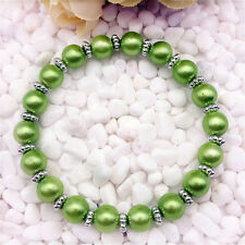 Wholesale fashion jewelry  fruit green 8 mm glass pearl stretch beaded bracelet