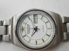 Vintage Stainless Steel White Dial Citizen Mens Automatic WristWatch Rare