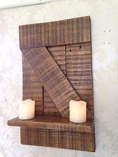En bois massif porte de grange étagère-chêne foncé vernis