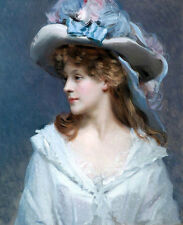 Oil painting young woman Raimundo de Madrazo Garreta with hat $29 for shipping