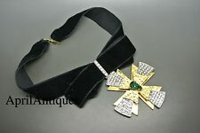 Vintage Yves Saint Laurent YSL 70s black velvet bow cross choker Necklace