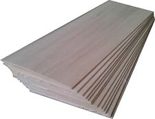 "BALSA WOOD 10 sheets 12"" x 3"" x 1/16"" (305mm x 75mm x 1.5mm) NEW"