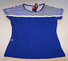 One Active By Michelle Bridges Ladies Blue White Stripe T Shirt Size 10 New