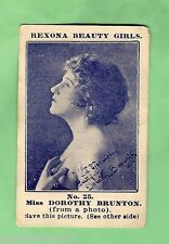 #D18. 1921 REXONA SOAP BEAUTY GIRLS CARD #25 - MISS DOROTHY BRUNTON