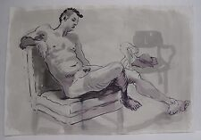 Lois Davis Seated Male Nude w/ Chair Watercolor Listed Indiana Artist 15 x 22