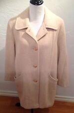 HERMAN KAY Women's Tan Beige Pea Coat Winter Wool Size 12 Large