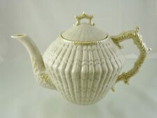 LIMPET YELLOW 1950'S TEA POT & LID BY BELLEEK IRELAND 4TH GREEN MARK