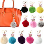 Lovely Genuine Fur Ball PomPom Car Fox Keychain Handbag Charm Key Ring Finder