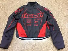 Men's Icon Hooligan Mesh Motorcycle Jacket, Black / Red, Small
