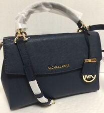 NEW Michael Kors SM Ava Top Handle Gold Navy Saffiano Leather Satchel Handbag