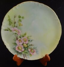 Vintage Haviland Limoges China Plate Hand Painted with Pink Florial Porcelain