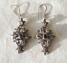 Beautiful Large Dangling Silver Earrings with Red Stone