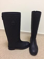 NWB $1900 AUTH CHANEL QUILTED RIDING HIGH BOOTS SHOES CC LOGO BLACK LEATHER 37.5