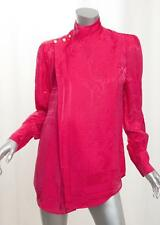 BALMAIN x H&M Womens Pink Fuchsia Silk Jacquard Long-Sleeve Blouse Top 6/S NEW