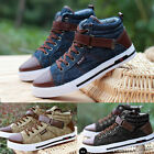 Winter Men Casual Leather High Top Sneaker Lace-up Work Shoes Ankle Boots Cowboy