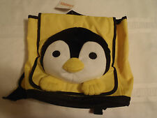 GYMBOREE Kids Yellow Penguin Backpack Bag Tote Adjustable Straps Plush Front NWT