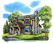 Mountain-Style  Log Cabin Blueprint Drawings-3 BR 2.5 BA - 9 Shts