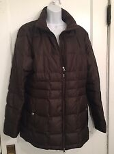 EDDIE BAUER Goose Down Quilted Commuter Coat Jacket Parka Women's XL Brown