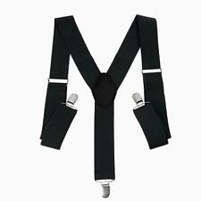 Braces Adjustable Mens Trouser Suspenders Clip on Elastic Unisex Wide Black