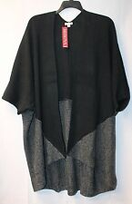 NEW MERONA WOMENS PLUS SIZE 3X BLACK & GRAY HEAVY OPEN FRONT CARDIGAN SWEATER