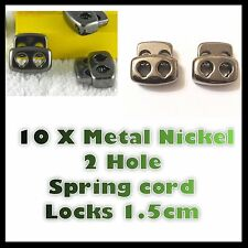 10 X Metal Nickel 2 Hole Cord lock Locks Spring Loaded Toggle Stopper Stop End