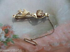 Antique vintage 9 ct Gold bar brooch bird and Cameo with safety pin and chain