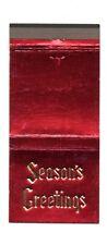 MAIN LINE FEDERAL SAVINGS BANK Villanova PA Unused Christmas Matchcover