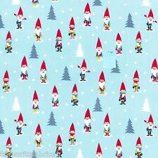 FQ -  MANY MINI GNOMES -  festive MICHAEL MILLER COTTON FABRIC CHRISTMAS XMAS