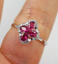 Unusual Solid 925 Sterling Silver, Cut Ruby,CZ Ring jewellery, O 1/2,  7.5