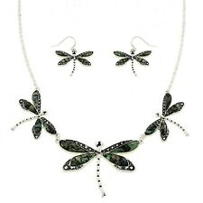 "Dragonfly Fashionable Necklace & Earring Set - Abalone Paua Shell - 16"" Chain"