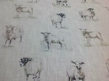 Clarke and Clarke SHEEP Linen Blend Fabric Curtains/ Roman Blinds/Cushions/Craft