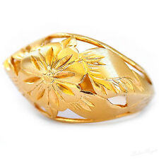Yellow Gold Filled 14k Oversize Ring Warranty Sizeable Flowers Tribal Artisan