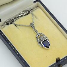 Sterling Silver Sapphire and Marcasite Pendant Necklace 20""