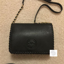 Auth Tory Burch BLACK Marion Combo Crossbody Bag Full Leather BNWT
