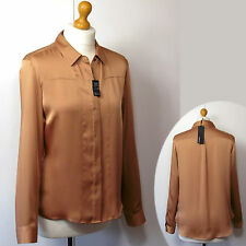 New M&S AUTOGRAPH Silky SATIN Long Sleeve BLOUSE / SHIRT ~ Size 8 ~ BRANDY