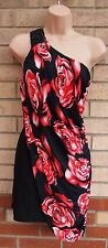 MISS BLUCH RED ROSES FLORAL BEADED ONE SHOULDER GRECIAN DRAPE TUBE DRESS 12 M