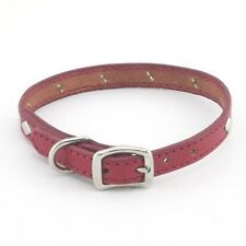 "HAMILTON Diamond Studded Stitched Leather Dog Collar, 14"" x 1/2"", Red"