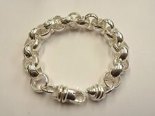 Solid Sterling Silver.925 Heavy Plain & Patterned Belcher Bracelet  46 g