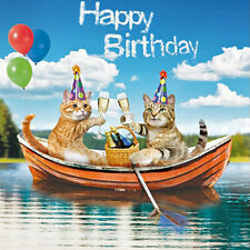 Party Cats Birthday Card The Fizzy Boat, Funny Ginger & Tabby Cat Greeting Card