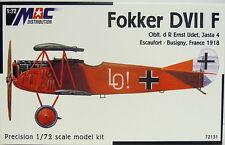 Fokker D VII F, molti dipinti Udet, Göring..., Mac, 1:72, WK i, plastica
