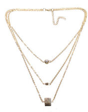 Sublime Gold Layered Diamanté Circle, Gold & Brown Stone Cube Necklace(Ns27)
