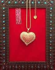Sparking Clear & Pink Heart Sweater Necklace - Betsey Johnson Fashion Jewelry