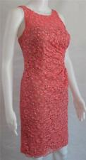 Aidan Mattox Coral Pink Lace Dress w/ Beads Illusion Neck Cocktail Formal 0250R
