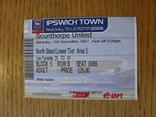 15/12/2007 Ticket: Ipswich Town v Scunthorpe United