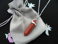 Healing Red Jasper Crystal Point pendant & SP chain -Aura, Stress, Health