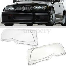 2x Car Anteriore Headlight Lenses Faro Copertina Cover Per BMW E46 01-05 4 Porta