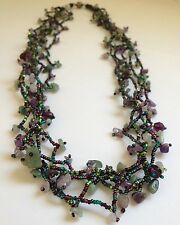 """32"""" Czech Glass Bead PEACOCK COLORS Strand String Bead Long NECKLACE Boho Chic"""